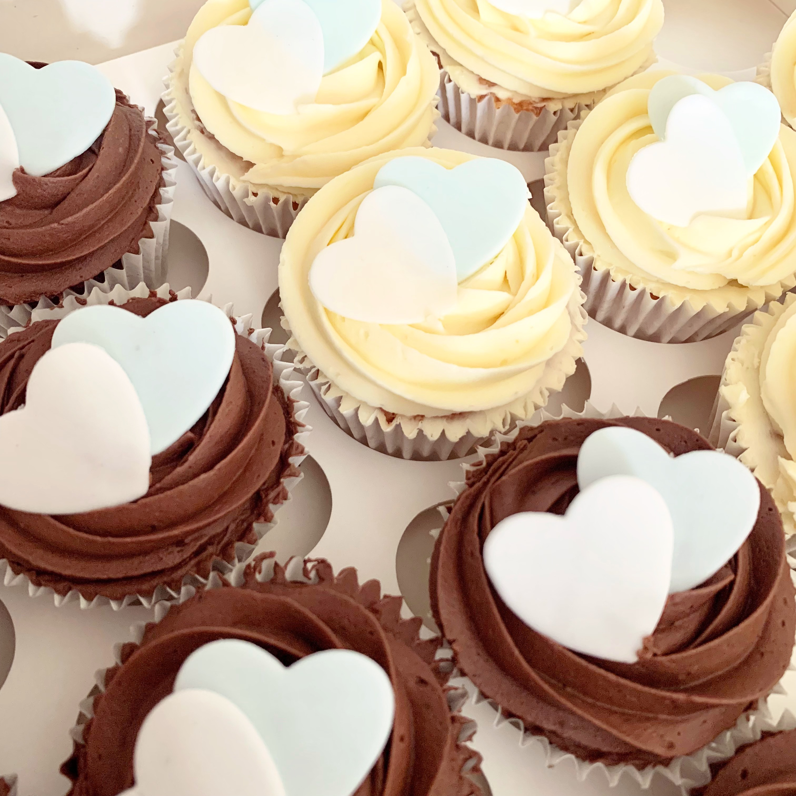 Heart topped wedding cupcakes